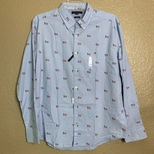 Tommy Hilfiger Blue TH Print Long Sleeve Shirt L